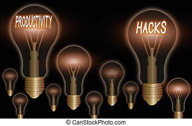hacks., obtenir, texte, fait, plus, time., écriture, concept...