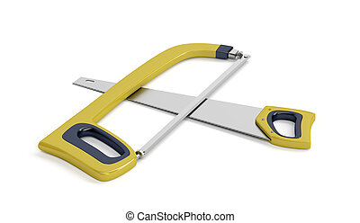 Hacksaw and hand saw on white background