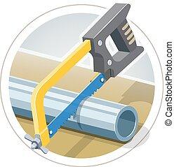 Hacksaw cut metallic pipe. Eps10 vector illustration. ...