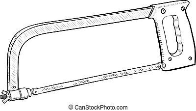 Hacksaw Frame illustration - Hand saw isolated on white...