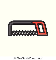 Hacksaw, handyman tool filled outline vector icon