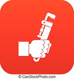 Hacksaw in man hand icon digital red for any design isolated...