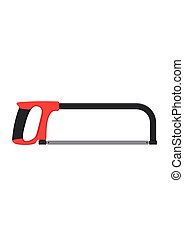 Hacksaw isolated on white background. Tool saw Vector illustration