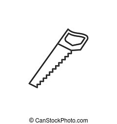 Hacksaw vector concept outline icon. Hand saw linear symbol