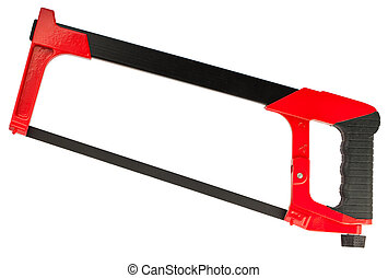 Hacksaw with red handle isolated on white background