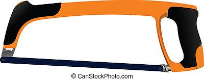 Hacksaw with the orange handle isolated on white background