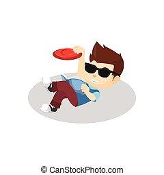 haczyk, chłopiec, frisbee, kiedy, odprężając