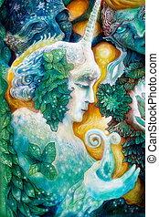 hada, colorido, brillante, detallado, fantasía, reino, elven...
