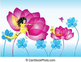hada, con, flor