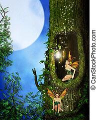 hada, en, el, fantasía, bosque