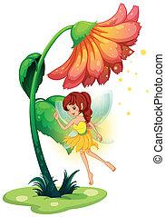 hada, flor, gigante, debajo