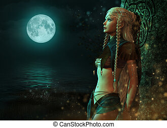 hada, luz de la luna, 3d