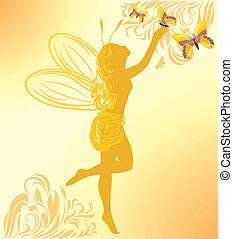 hada, mariposas