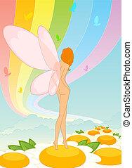 hada, -, niña, con, mariposa, alas