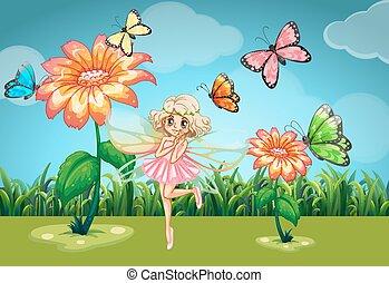 hada, y, mariposas, en el jardín