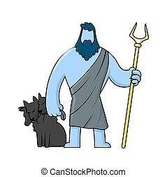 hades, バックグラウンド。, イラスト, underworld., 白, ギリシャ語, ベクトル, 隔離された, mythological, 平ら, 死んだ, 神