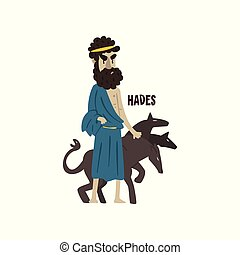 Hades Olympian Greek God, ancient Greece mythology character vector Illustration on a white background