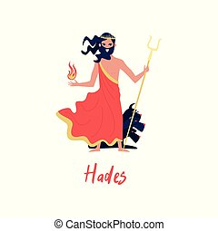 Hades Olympian Greek God, ancient Greece myths cartoon character vector Illustration on a white background