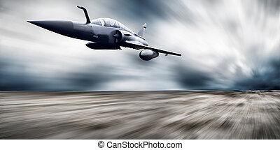 hadi, airplan, képben látható, a, gyorsaság