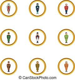 hadi, emberek, ikon, állhatatos, karikatúra, mód