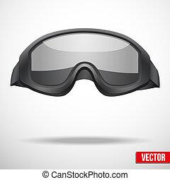 hadi, fekete, védőszemüveg, vektor, ábra