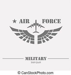 hadi, jel, és, badge., levegő, force., grafikus, sablon