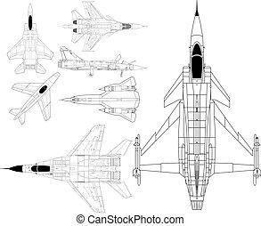 hadi, modern, repülőgépek