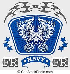 haditengerészet, hadi, tervezés, -, vektor, illustration.