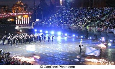 haditengerészeti, spasskaya, fesztivál, zenekar, bashnya, erőltet, előadás, oroszország
