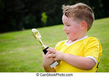 hadizsákmány, övé, fiatal, egyenruha, játékos, új, futball