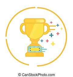 hadizsákmány, lakás, bajnok, gold csésze, jelkép, nyertes, ikon