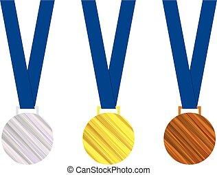 hadizsákmány, medals., badges., tiszteletbeli, bajnokság, elszigetelt, ábra, arany, háttér., vektor, fehér, games., ezüst, bronz