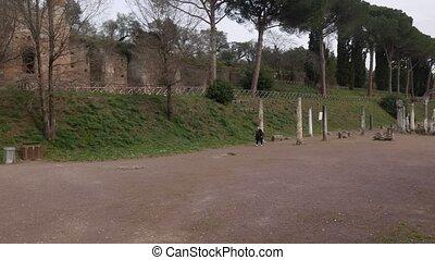 Hadrian Villa - ROME, ITALY Ancient Pool among the ruins of...