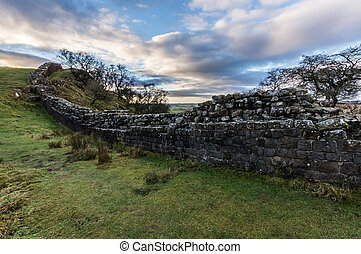 Hadrian's Wall, Northumberland - Well preserved section of...