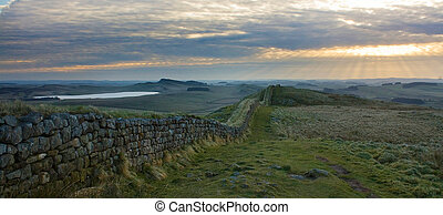 Hadrians Wall panorama - Moody panorama of Hadrians Wall in...