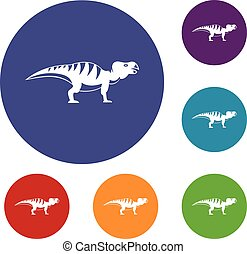 Hadrosaurid dinosaur icons set in flat circle red, blue and...