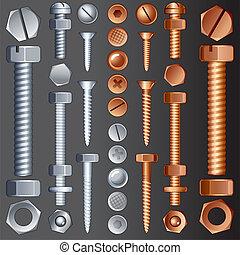 Hadrware Elements - Steel and Brass Hardware, vector set of...