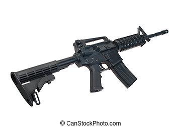 hadsereg, carbine, elszigetelt, bennünket, háttér, fehér