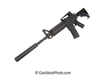 hadsereg, carbine, elszigetelt, bennünket, hangfogó, háttér, fehér