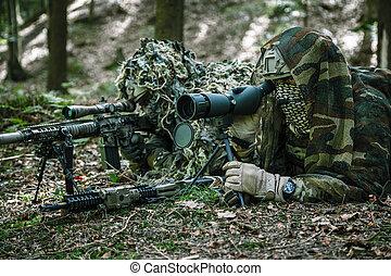 hadsereg, csendőrök, orvlövész, pár