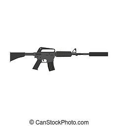 hadsereg, fegyver, silencer., elszigetelt, ábra, pisztoly, támadás, vektor, karabély, hadi, automata, háború, orvlövész
