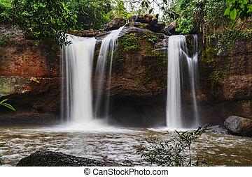 Haew Suwat Waterfall in Khao Yai Park, Thailand - Haew Suwat...
