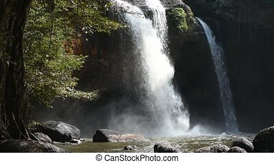 Haew Suwat Waterfall in the morning at Khao Yai National park, Nakhon Ratchasima province, Thailand.