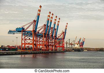 hafen, terminal, für, laden, und, abstoßen, schiffe