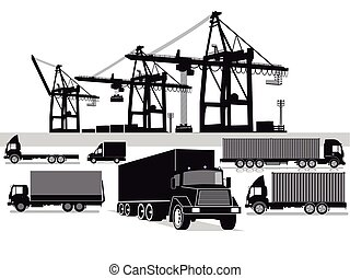 Hafen Transport.eps - Freight, container transport,...