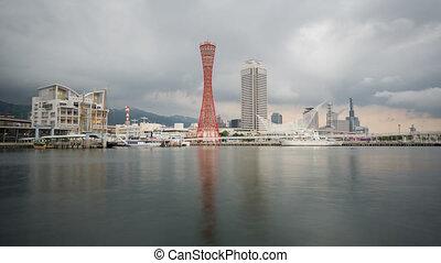 Hafen, wolkenhimmel, stürmisch, FEHLER, Skyline, Zeit, Kobe...