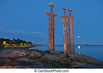 Hafrsfjord Swords in Rock night