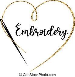 haft, z, needle., wektor, ręka robiona, symbol, w, modny, kreska, style.