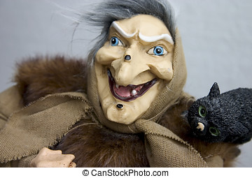 Hag with tomcat - Old hag with her tomcat