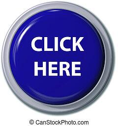 haga clic aquí, azul, botón, deje caer la sombra